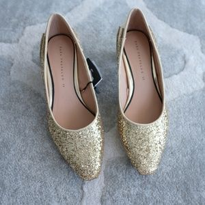 Zara Gold Glitter Shoes NWT